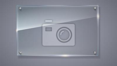 Sticker Leere, transparente Vektor-Glasplatte. Vektor-Vorlage, horizontale Banner mit Kopie-Raum. Foto realistische Textur mit Highlights und glühen auf den Hintergrund. Sehen Sie durch den Plastik, 3D Abbild