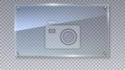Sticker Leere, transparente Vektor-Glasplatte. Vektor-Vorlage, Mock-up-Banner mit Kopie-Raum. Foto realistische Textur mit Highlights und glühen auf die transparente. Sehen Sie durch den Plastik, 3D Abbildung