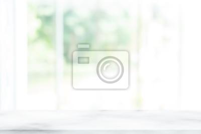 Sticker Leerer Innentischendekorationshintergrund der hölzernen Tabelle und des Fensterraumes, Produktmontageanzeige, kann für Anzeige oder Montage Ihre Produkte verwendet werden. Versperren Sie für Anzeige d