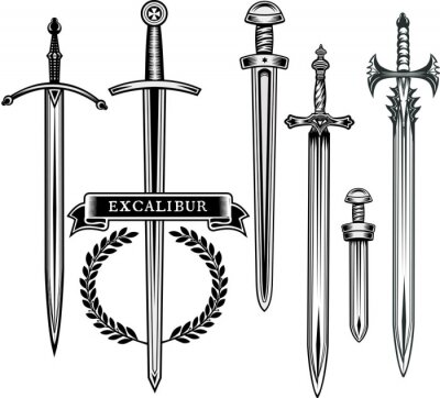 Sticker Legendary sword. Excalibur the mythical sword of King