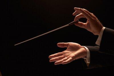 Sticker Leiter, der ein Orchester