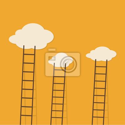 Leitern zu den Wolken. Vector minimalistischen Design-Wettbewerb Konzept.