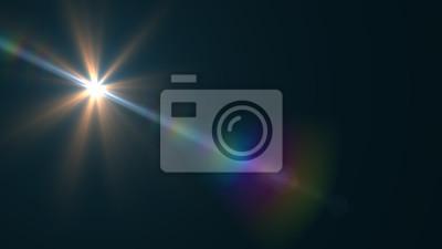 Sticker Lens Flare Licht über Schwarzem Hintergrund. Einfach, Überlagerungs- oder Schirmfilter über Fotos hinzuzufügen