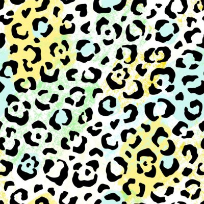 Leopard seamless abstract pattern with bright print and colorful texture. Vector wild illustration on white background.