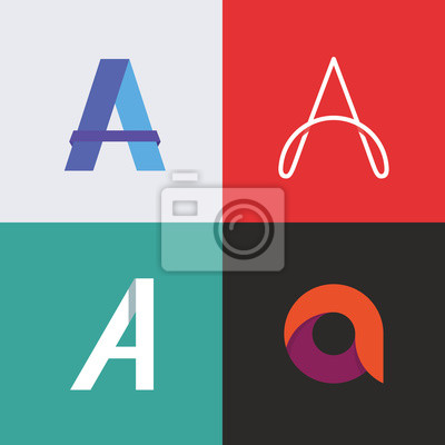 Letter A, vector icon set