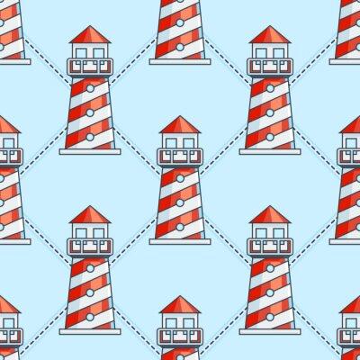 Sticker Leuchtturm auf blauem Hintergrund nahtlose Muster