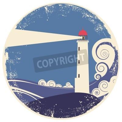 Sticker Leuchtturm im Meer landscape.vintage Abbildung auf altem Papier