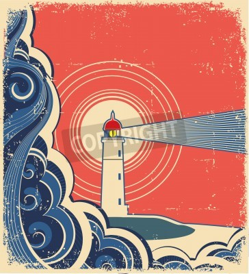 Sticker Leuchtturm mit blauem Meer.