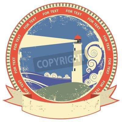 Sticker Leuchtturm symbol.Vintage Etikett auf altem Papier Textur