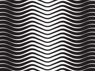 Sticker Lichtwellen abstrakt gestreiften Hintergrund schwarz und weiß