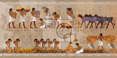Sticker Life in ancient Egypt, frescoes. Egyptians history art. Agriculture, workmanship, fishery, farm. Hieroglyphic carvings on exterior walls of an old temple