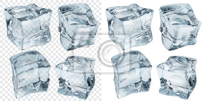 Sticker Light blue ice cubes. Transparency only in vector file
