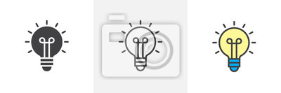 Sticker Light bulb icon. Line, solid and filled outline colorful version, outline and filled vector sign. Idea Symbol, logo illustration. Different style icons set. Vector graphics