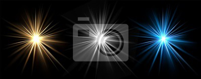 Sticker Light effects. Vector light stars. Glow bursts isolated on black background. Illustration flash light effect, blue and white