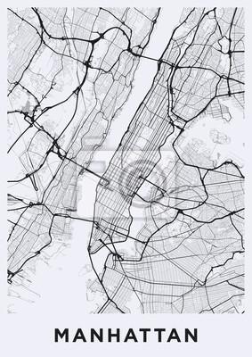 Light Manhattan (New York) map. Road map of Manhattan (NYC). Black and white (light) illustration of Manhattan's streets. Transport network of Manhattan. Printable poster format (portrait).