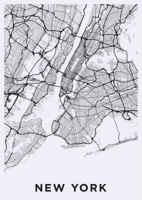 Light New York City map. Road map of New York (United States). Black and white (light) illustration of new york streets. Transport network of the Big Apple. Printable poster format (portrait).