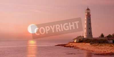 Sticker lighthouse and sunset