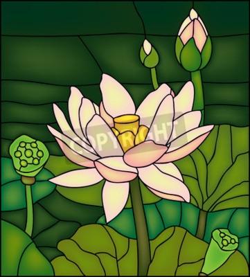 Sticker Lily in den Teich, Glasmalerei winow