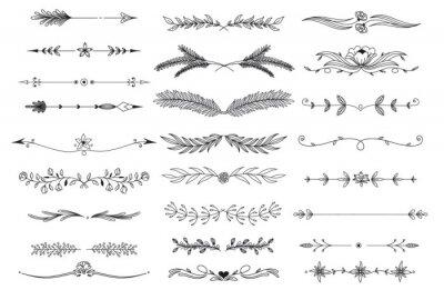 Sticker Line art floral dividers, boho arrows, plant line borders , flourishes elements. Outline foliage natural leaves herbs page divider vector illustration.