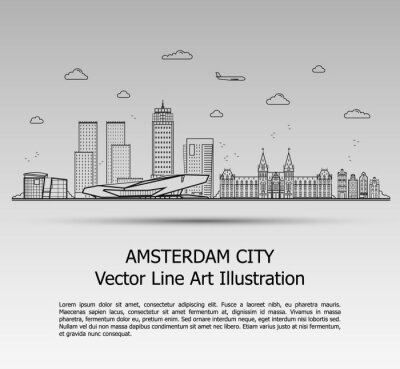 Line Art Vector Illustration of Modern Amsterdam City with Skyscrapers. Flat Line Graphic. Typographic Style Banner. The Most Famous Buildings Cityscape on Gray Background.