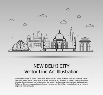 Line Art Vector Illustration of Modern New Delhi City with Skyscrapers. Flat Line Graphic. Typographic Style Banner. The Most Famous Buildings Cityscape on Gray Background.