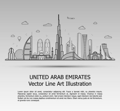 Line Art Vector Illustration of Modern United Arab Emirates with Skyscrapers. Flat Line Graphic. Typographic Style Banner. The Most Famous Buildings Cityscape on Gray Background.