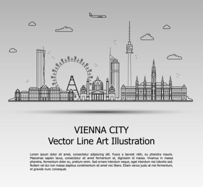 Line Art Vector Illustration of Modern Vienna City with Skyscrapers. Flat Line Graphic. Typographic Style Banner. The Most Famous Buildings Cityscape on Gray Background.