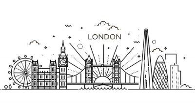 Sticker Linearer Banner der Londoner Stadt.