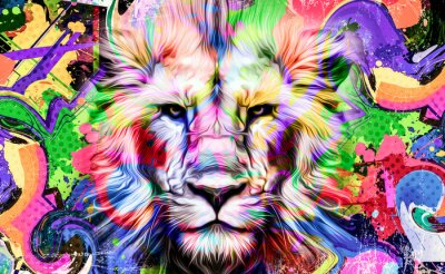 Sticker lion illustration with colorful splashes