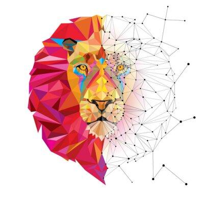 Sticker Lion Kopf in geometrische Muster mit Sternlinienvektor