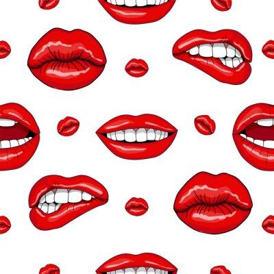 Sticker Lippen Nahtlose Muster in Retro-Pop-Art-Stil
