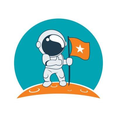 Sticker Little Astronaut Erfolg auf Mond Mission Cartoon