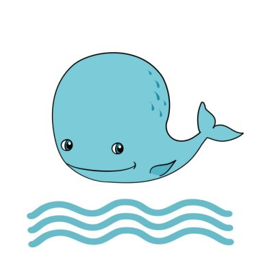 Little Blue Whale, vector illustration isolated on white background