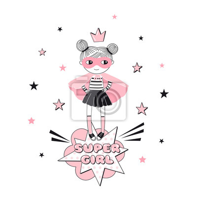 Little cartoon supergirl character illustration. Girlish Pink Super Hero themed vector doodle graphics. Perfect for little girl design like t-shirt textile fabric print birtday party art wall poster