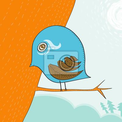 little cute blue bird