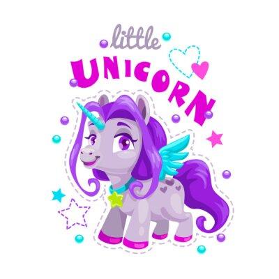 Sticker Little cute cartoon unicorn label. Sweet pony princess illustration.
