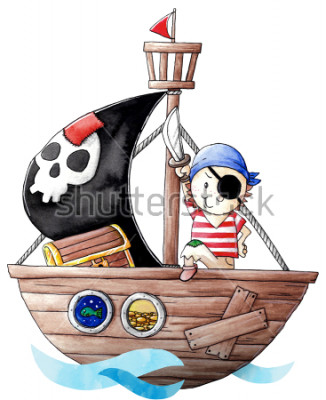 Sticker Little pirate boy with his ship