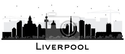Liverpool City Skyline Silhouette with Black Buildings Isolated on White.