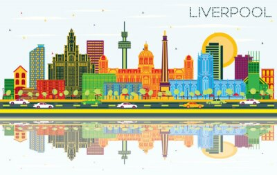 Liverpool UK City Skyline with Color Buildings, Blue Sky and Reflections.