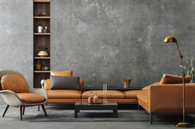Sticker Living room interior in loft, industrial style, 3d render