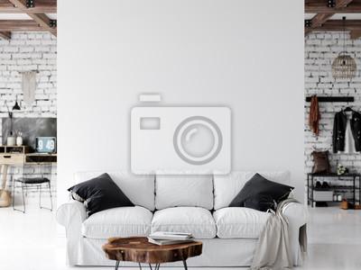 Sticker Living room interior. Wall mockup. Wall art. 3d rendering