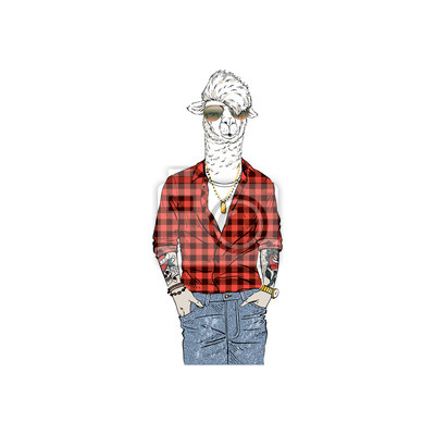 Llama man hipster dressed up in red plaid shirt and jeans.