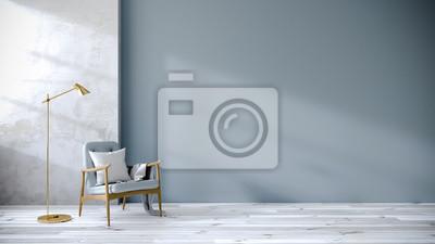 Sticker Loft und Vintage-Interieur des Wohnzimmers, Blaue Sessel auf weißem Boden und blaue Wand, 3D-Rendering