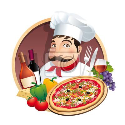 Logo Pizzeria Restaurant Menü Carte - Vecteur CMJN