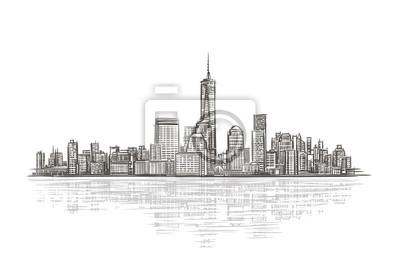 Lokalisierte Vektorillustration des modernen Stadt Schattenbildes.