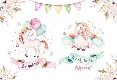 Sticker Lokalisiertes nettes Aquarell Unicorn clipart. Kindergarten Einhörner Illustration. Prinzessinregenbogen-Einhornplakat. Modisches rosa Karikaturpferd.