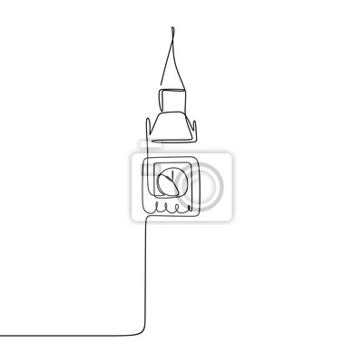 London big ben continuous single one line drawing vector illustration