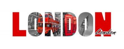 Sticker London Briefe, isoliert auf weißem Hintergrund, Reisen und Tourismus in UK Konzept