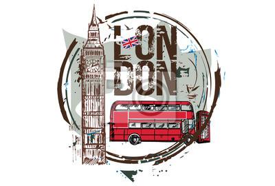 London Bus, Big Ben. London, England. Stadtgestaltung. Hand gezeichnete Illustration.
