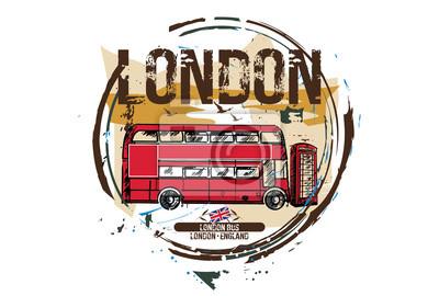 London Bus, London / England. Stadtgestaltung. Hand gezeichnete Illustration.